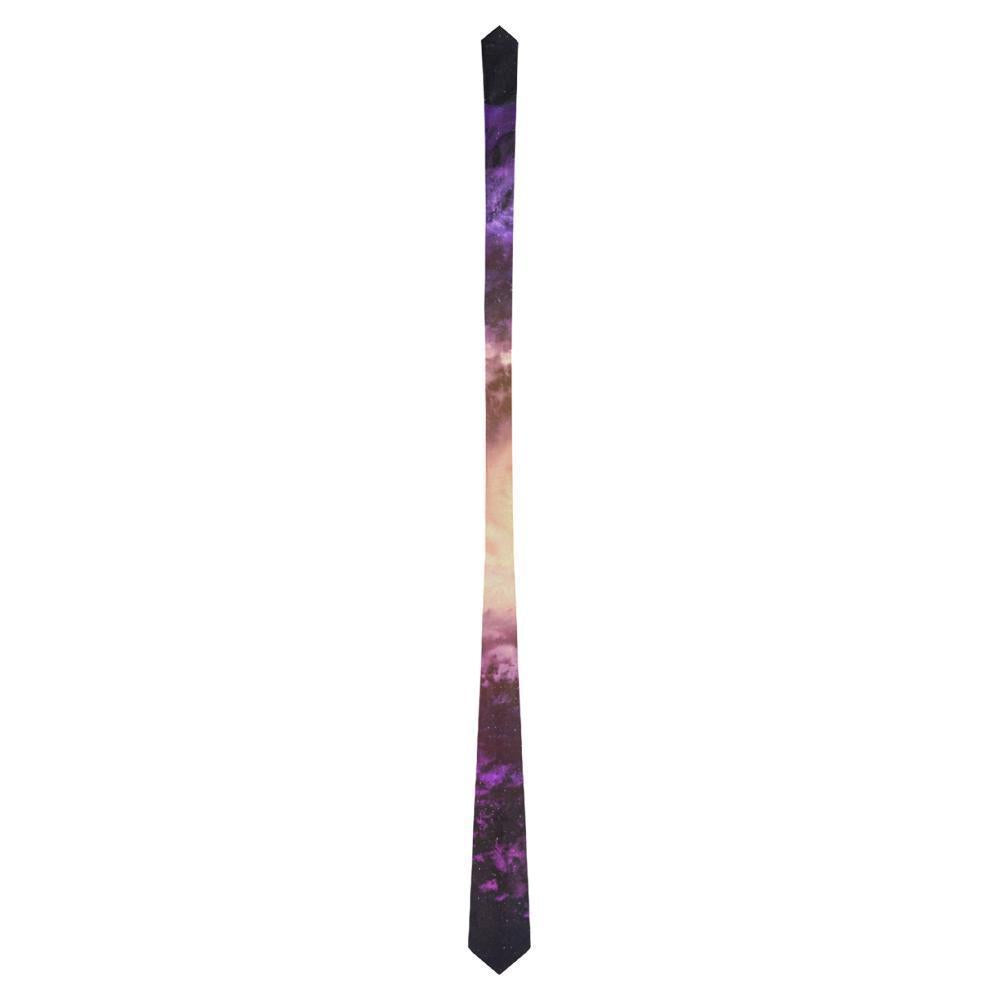 Purple Galaxy Space Spiral Cloud Print Men's Necktie GearFrost