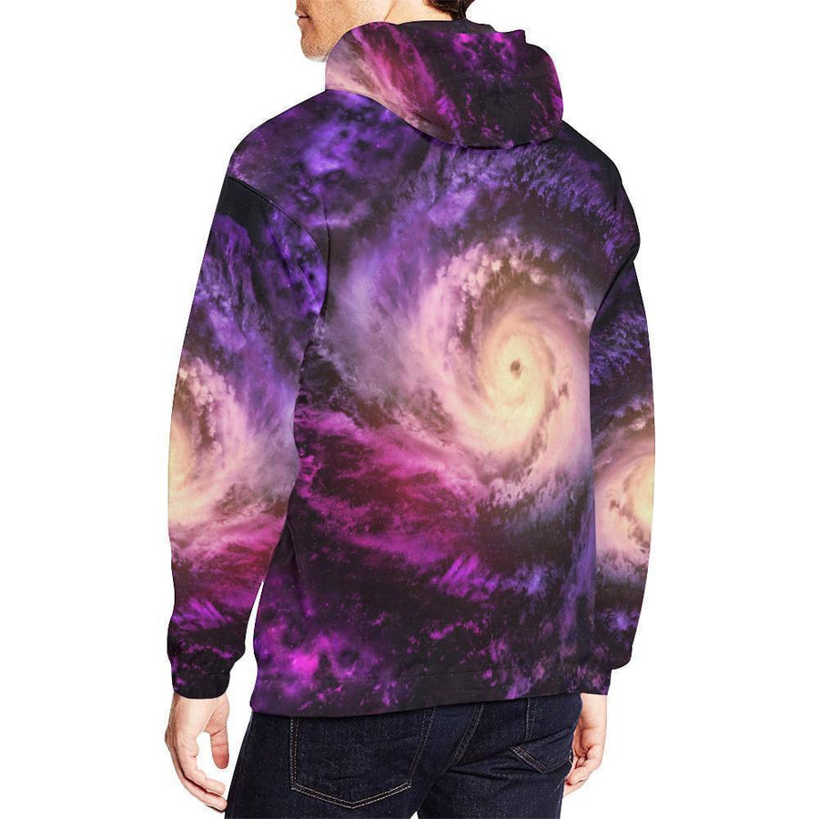 Purple Galaxy Space Spiral Cloud Print Men's Pullover Hoodie GearFrost