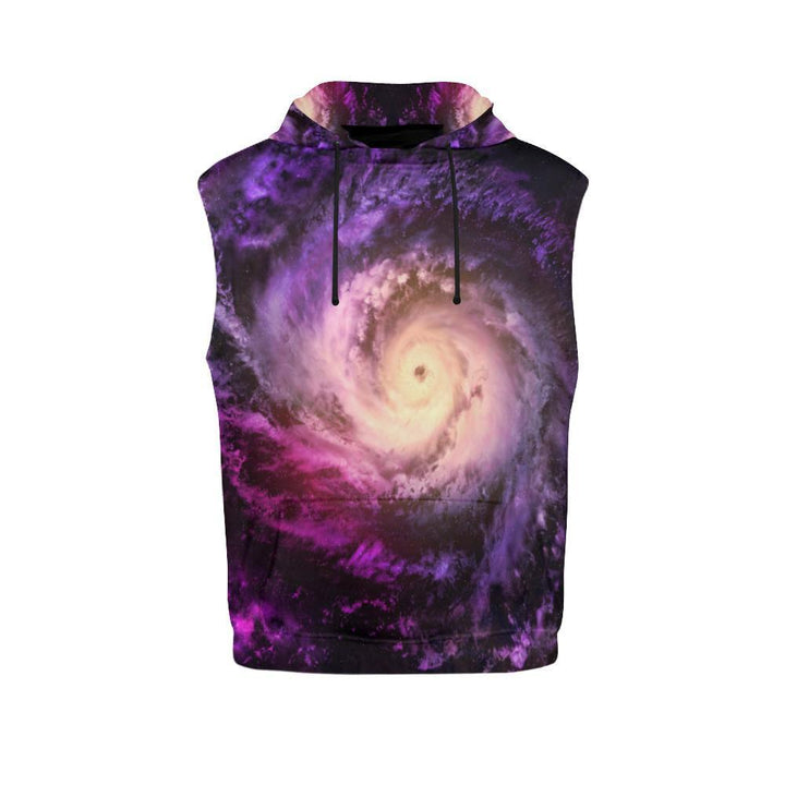 Purple Galaxy Space Spiral Cloud Print Men's Sleeveless Hoodie GearFrost