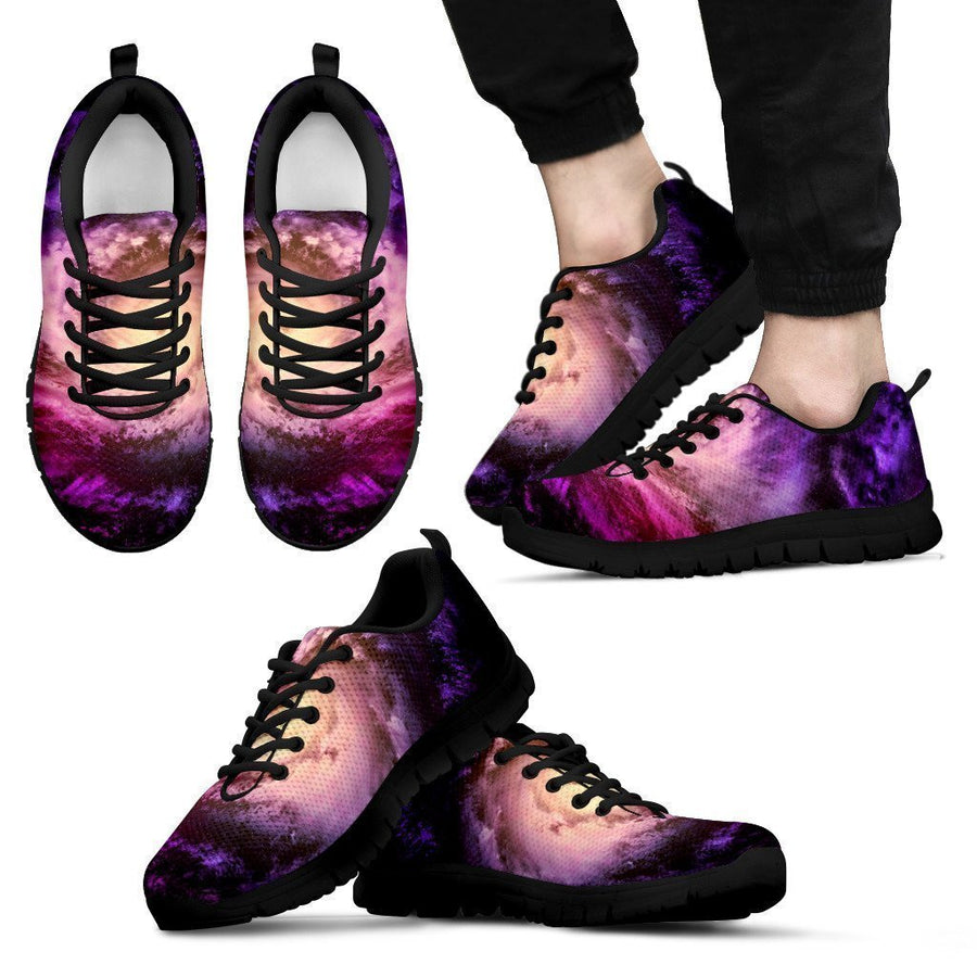 Purple Galaxy Space Spiral Cloud Print Men's Sneakers GearFrost