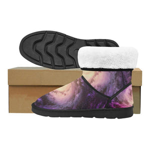 Purple Galaxy Space Spiral Cloud Print Men's Snow Boots GearFrost