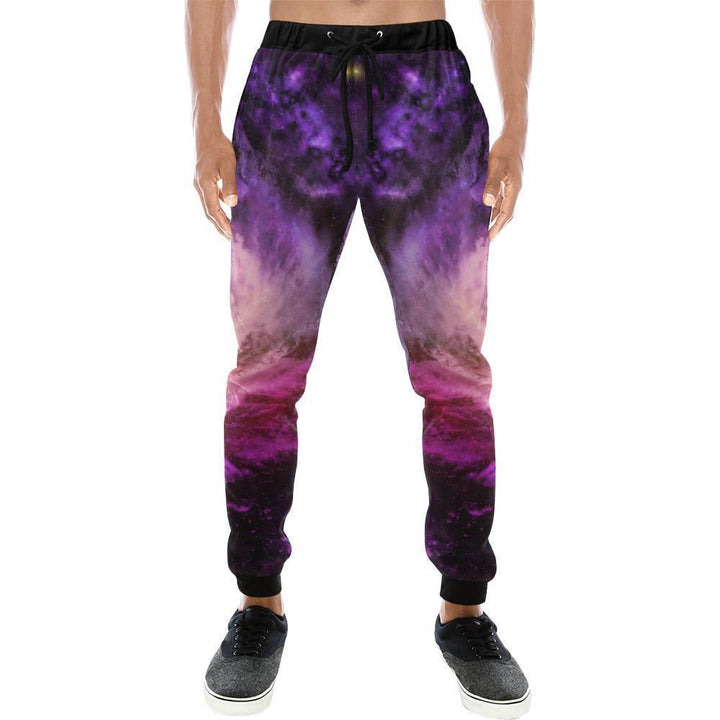 Purple Galaxy Space Spiral Cloud Print Men's Sweatpants GearFrost