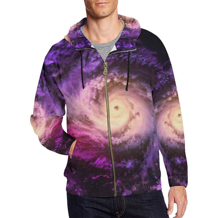 Purple Galaxy Space Spiral Cloud Print Men's Zip Up Hoodie GearFrost