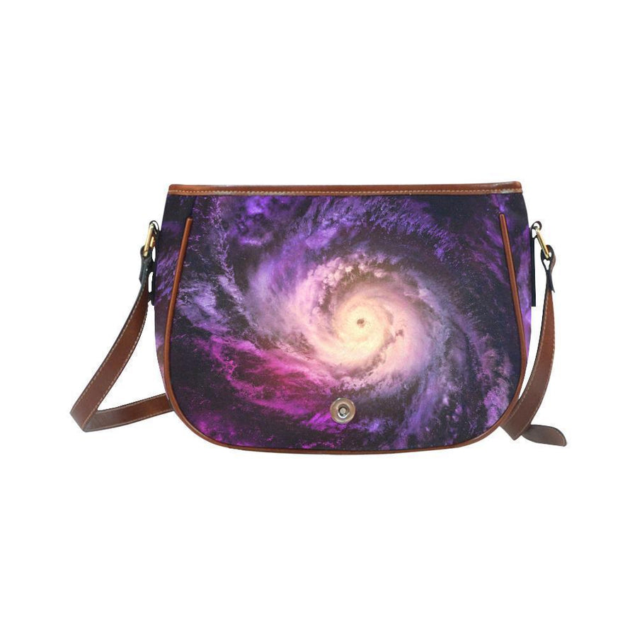 Purple Galaxy Space Spiral Cloud Print Saddle Bag Crossbody Purse GearFrost
