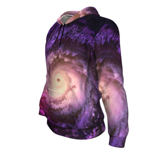 Purple Galaxy Space Spiral Cloud Print Unisex Pullover Hoodie GearFrost