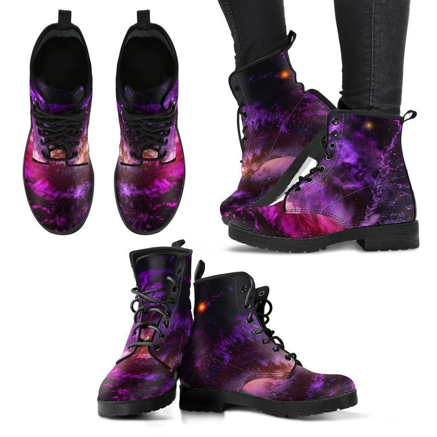 Purple Galaxy Space Spiral Cloud Print Women's Boots GearFrost