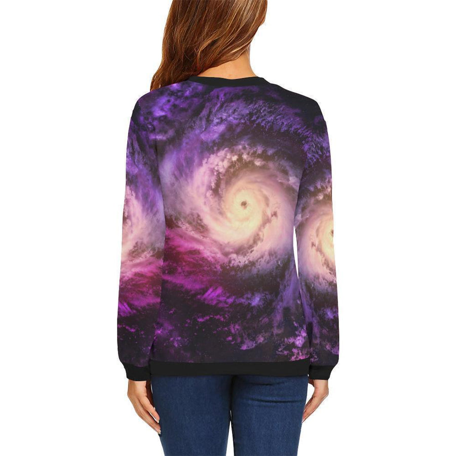 Purple Galaxy Space Spiral Cloud Print Women's Crewneck Sweatshirt GearFrost