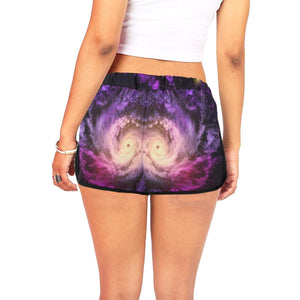 Purple Galaxy Space Spiral Cloud Print Women's Shorts GearFrost