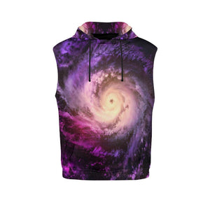 Purple Galaxy Space Spiral Cloud Print Women's Sleeveless Hoodie GearFrost