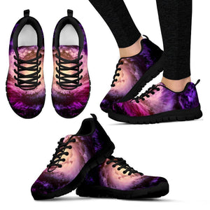 Purple Galaxy Space Spiral Cloud Print Women's Sneakers GearFrost