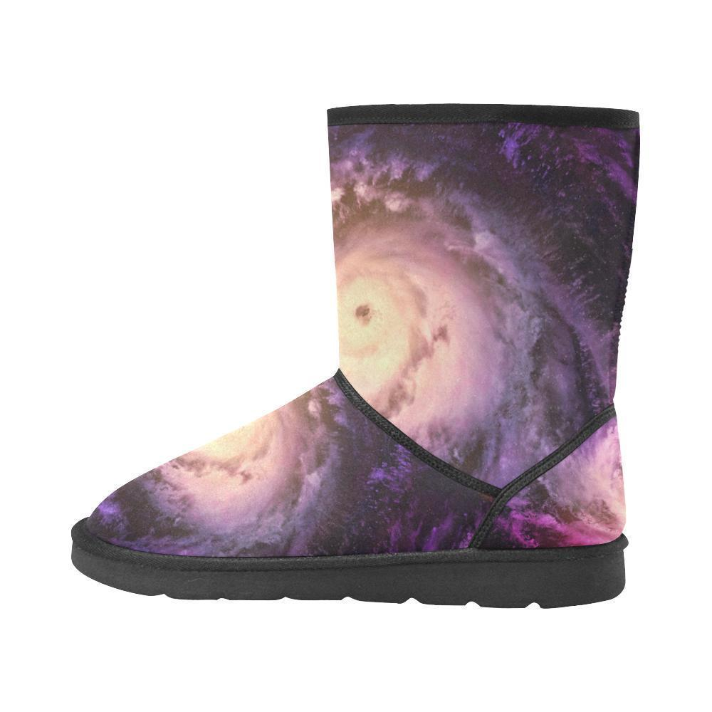 Purple Galaxy Space Spiral Cloud Print Women's Snow Boots GearFrost