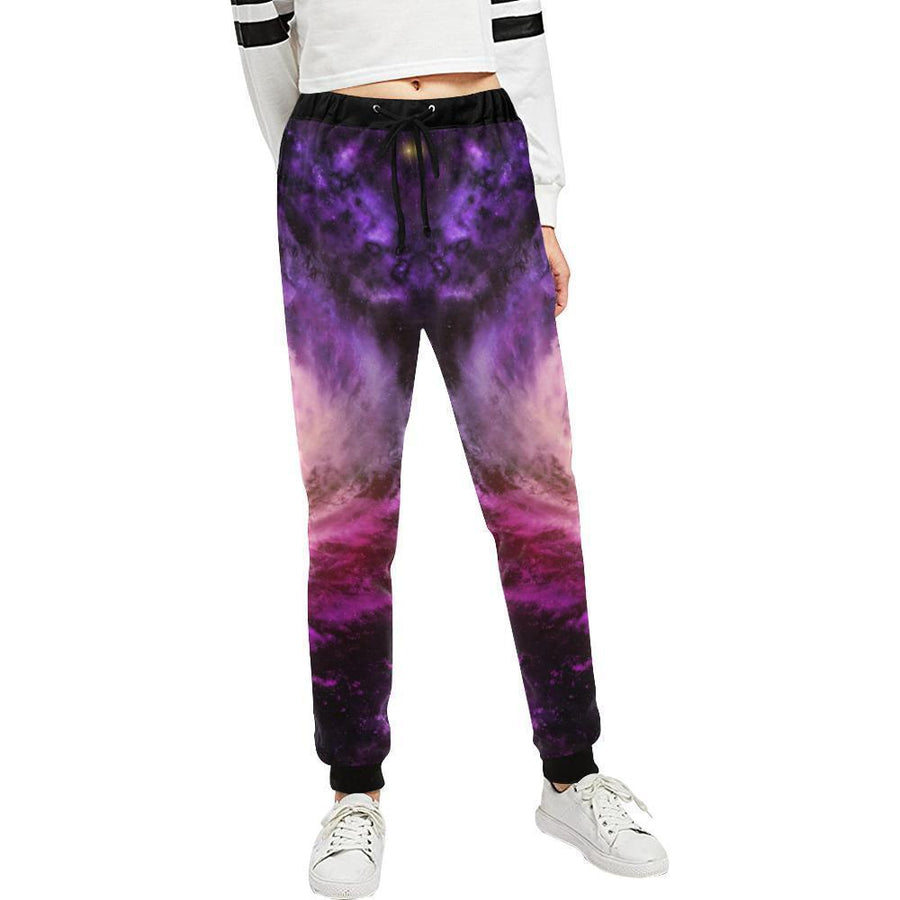 Purple Galaxy Space Spiral Cloud Print Women's Sweatpants GearFrost
