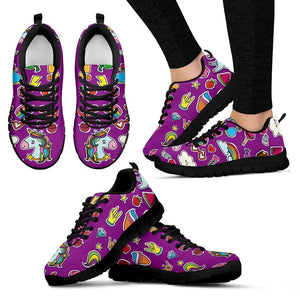 Purple Girly Unicorn Pattern Print Women's Sneakers GearFrost