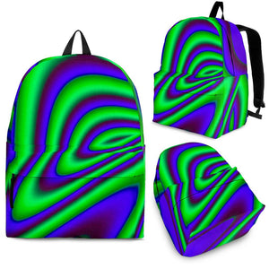 Purple Green Psychedelic Trippy Print Backpack GearFrost