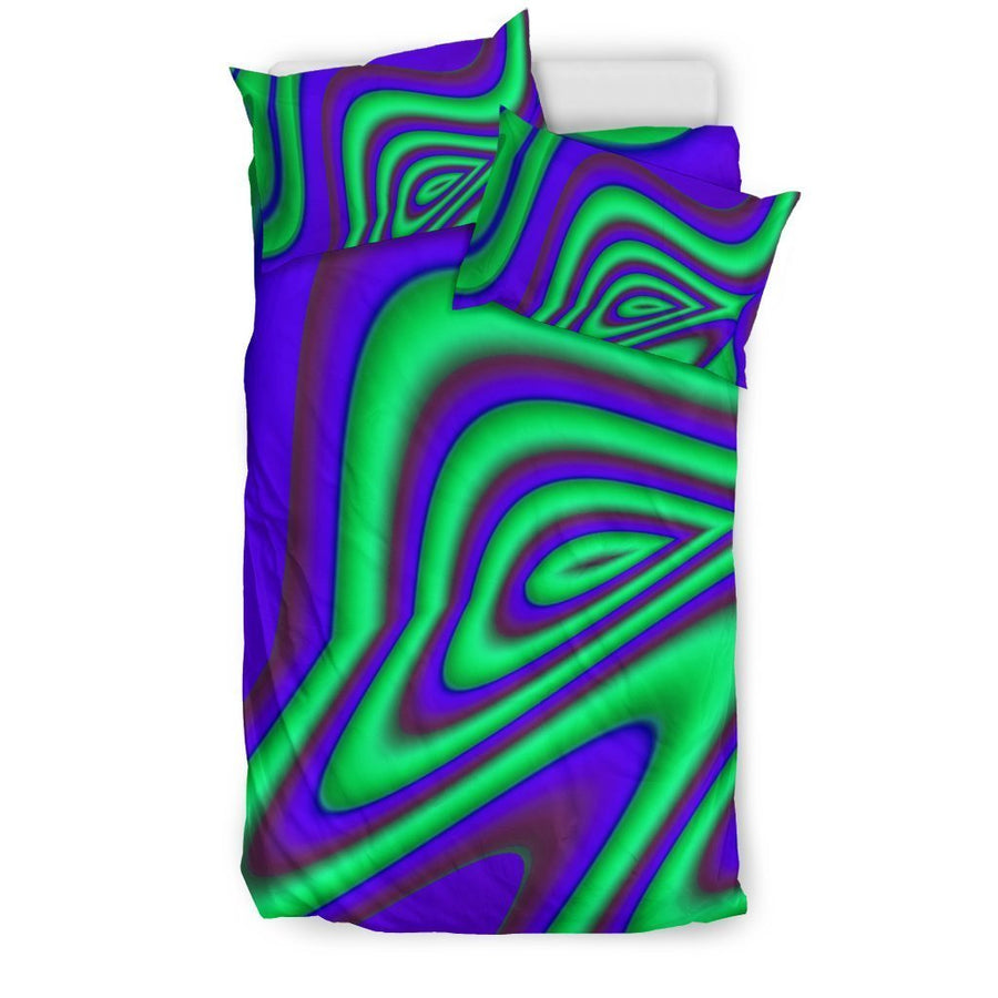 Purple Green Psychedelic Trippy Print Duvet Cover Bedding Set GearFrost