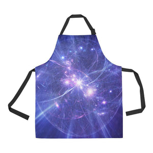 Purple Light Circle Galaxy Space Print Bib Apron With Pockets GearFrost