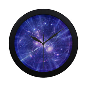 Purple Light Circle Galaxy Space Print Black Wall Clock GearFrost