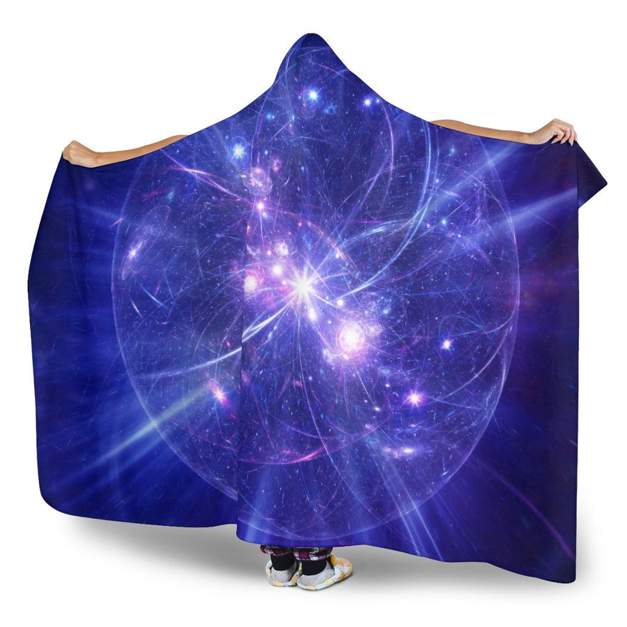 Purple Light Circle Galaxy Space Print Hooded Blanket GearFrost