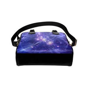Purple Light Circle Galaxy Space Print Leather Shoulder Handbag GearFrost