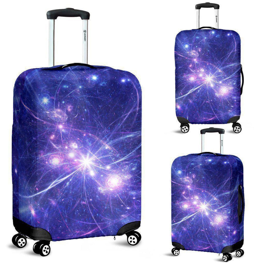 Purple Light Circle Galaxy Space Print Luggage Cover GearFrost