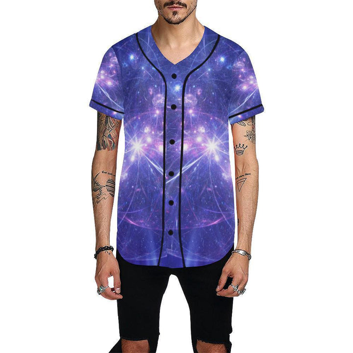Purple Light Circle Galaxy Space Print Men's Baseball Jersey GearFrost
