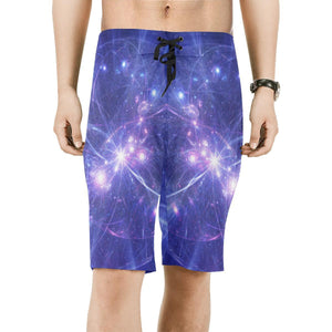 Purple Light Circle Galaxy Space Print Men's Board Shorts GearFrost