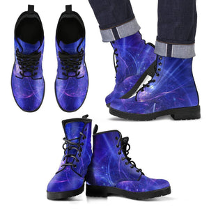 Purple Light Circle Galaxy Space Print Men's Boots GearFrost