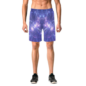 Purple Light Circle Galaxy Space Print Men's Elastic Board Shorts GearFrost