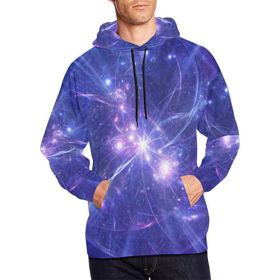 Purple Light Circle Galaxy Space Print Men's Pullover Hoodie GearFrost