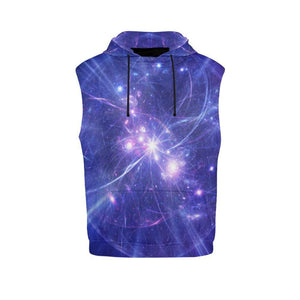 Purple Light Circle Galaxy Space Print Men's Sleeveless Hoodie GearFrost