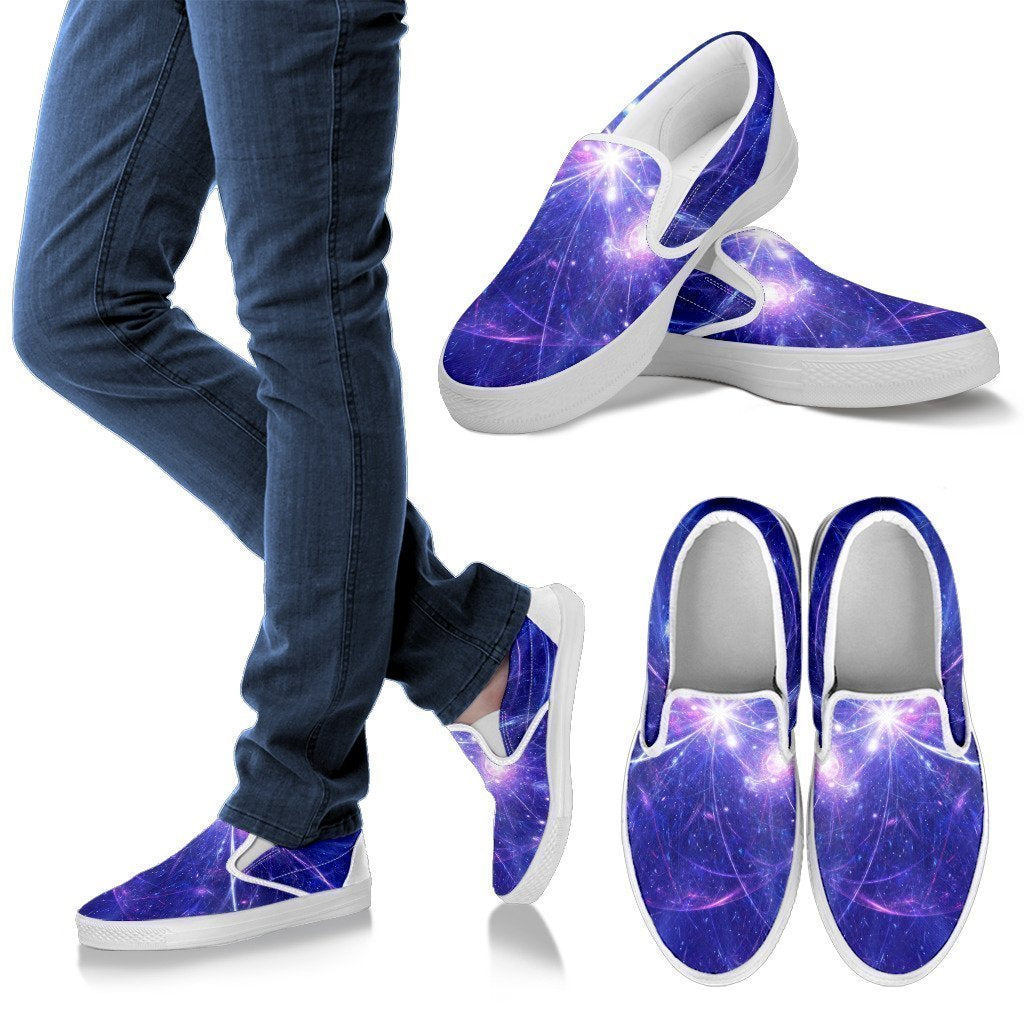 Purple Light Circle Galaxy Space Print Men's Slip On Shoes GearFrost