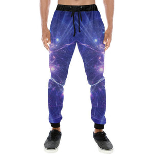Purple Light Circle Galaxy Space Print Men's Sweatpants GearFrost