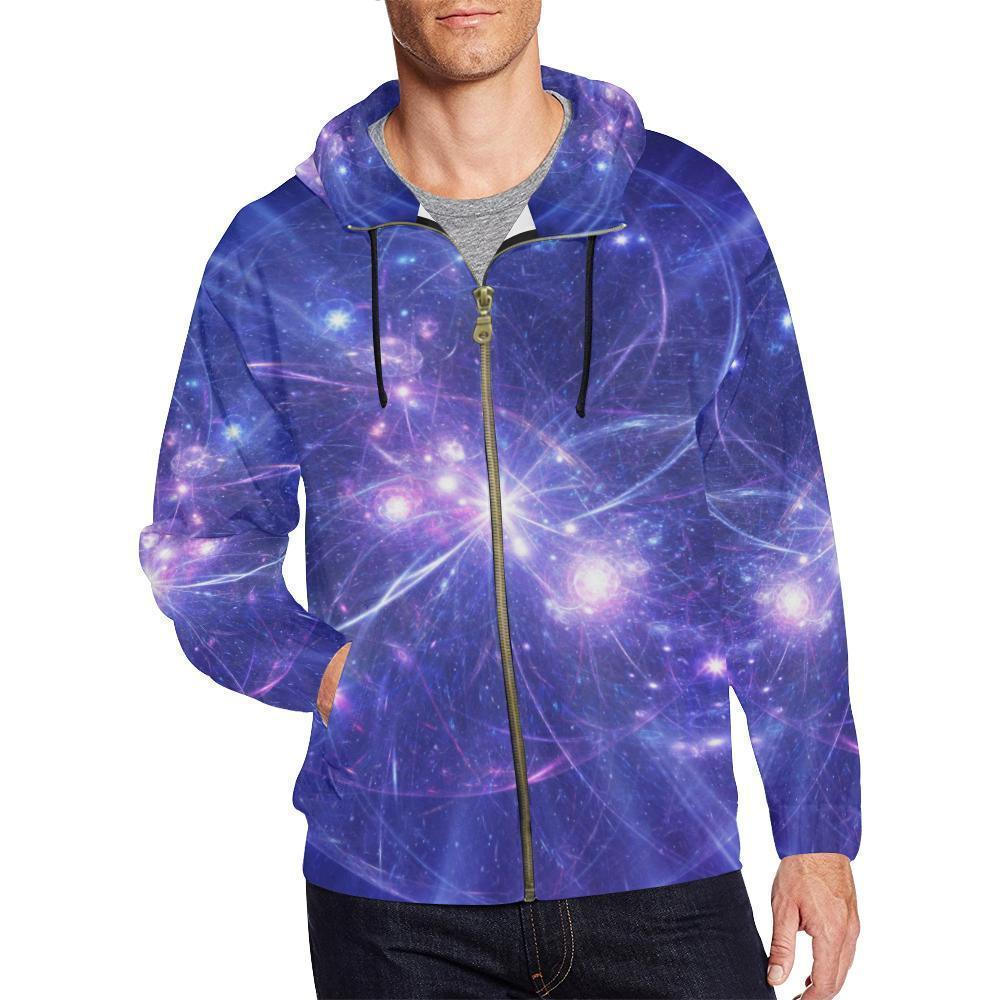 Purple Light Circle Galaxy Space Print Men's Zip Up Hoodie GearFrost