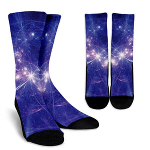 Purple Light Circle Galaxy Space Print Unisex Crew Socks GearFrost