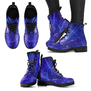 Purple Light Circle Galaxy Space Print Women's Boots GearFrost