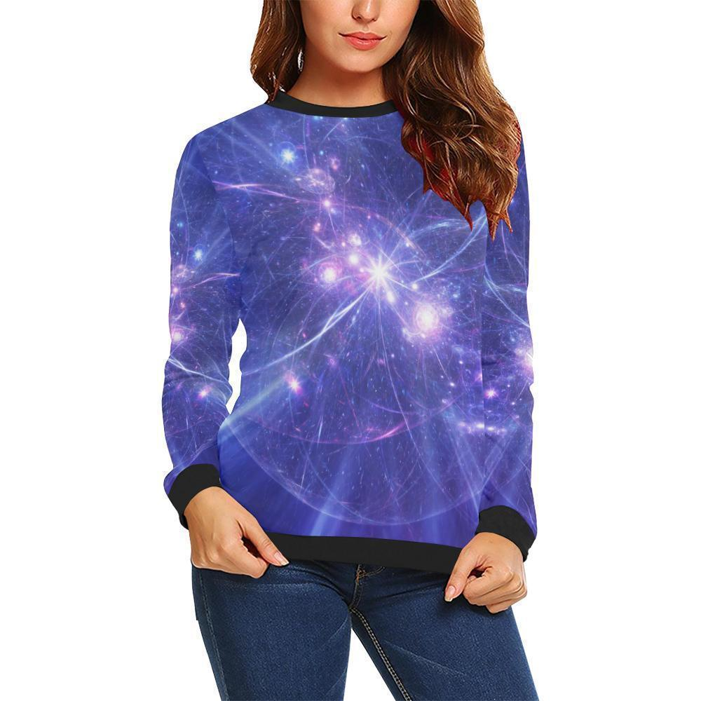 Purple Light Circle Galaxy Space Print Women's Crewneck Sweatshirt GearFrost