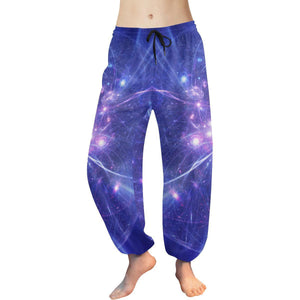 Purple Light Circle Galaxy Space Print Women's Harem Pants GearFrost