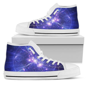 Purple Light Circle Galaxy Space Print Women's High Top Shoes GearFrost