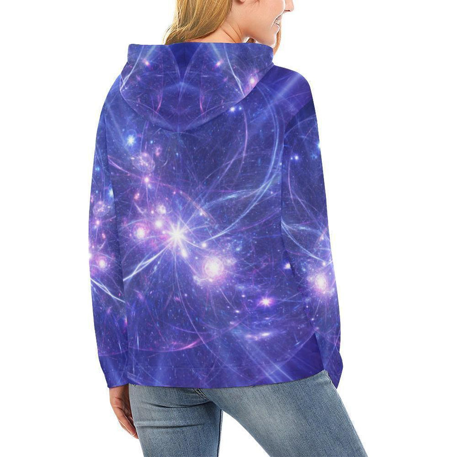 Purple Light Circle Galaxy Space Print Women's Pullover Hoodie GearFrost