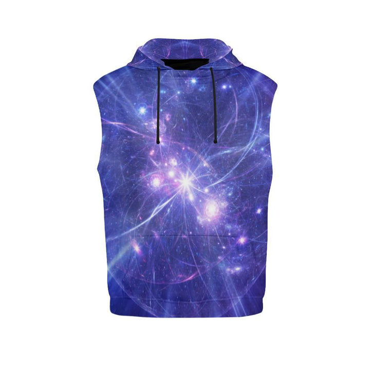 Purple Light Circle Galaxy Space Print Women's Sleeveless Hoodie GearFrost