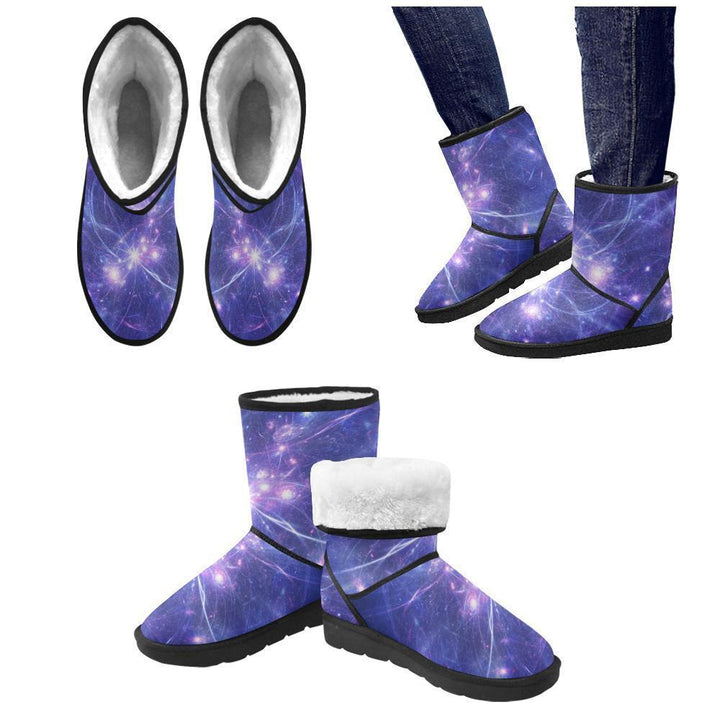 Purple Light Circle Galaxy Space Print Women's Snow Boots GearFrost