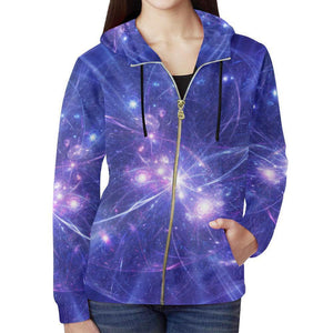 Purple Light Circle Galaxy Space Print Women's Zip Up Hoodie GearFrost