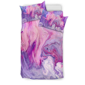 Purple Liquid Marble Print Duvet Cover Bedding Set GearFrost