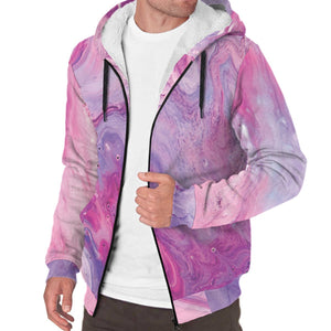 Purple Liquid Marble Print Sherpa Lined Fleece Hoodie GearFrost