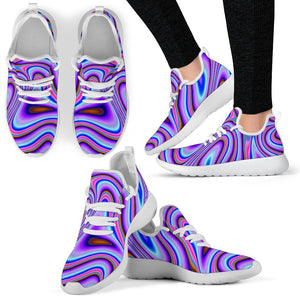 Purple Psychedelic Trippy Print Mesh Knit Shoes GearFrost