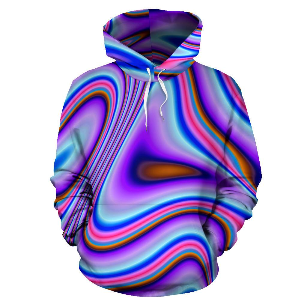 Purple Psychedelic Trippy Print Pullover Hoodie GearFrost