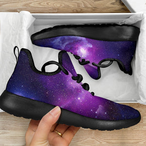 Purple Starfield Galaxy Space Print Mesh Knit Shoes GearFrost