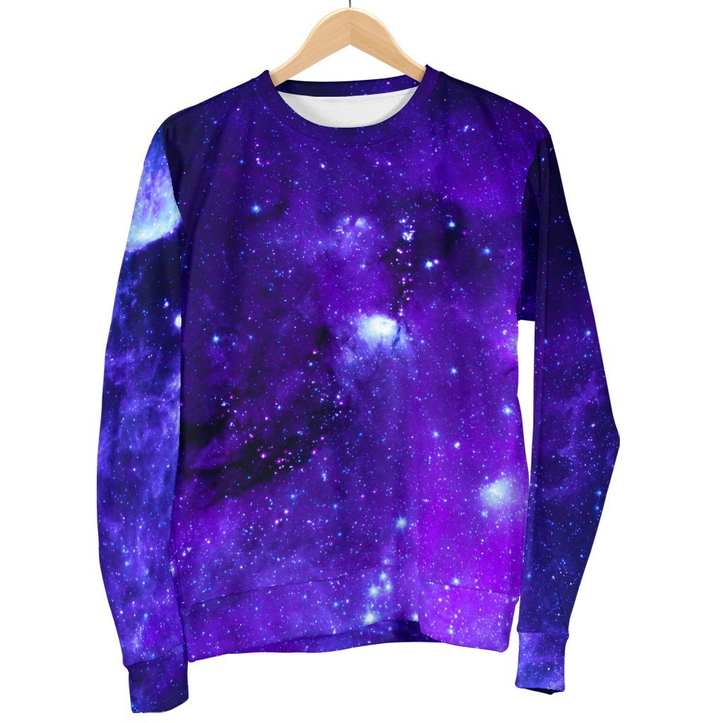 Purple Stars Nebula Galaxy Space Print Men's Crewneck Sweatshirt GearFrost