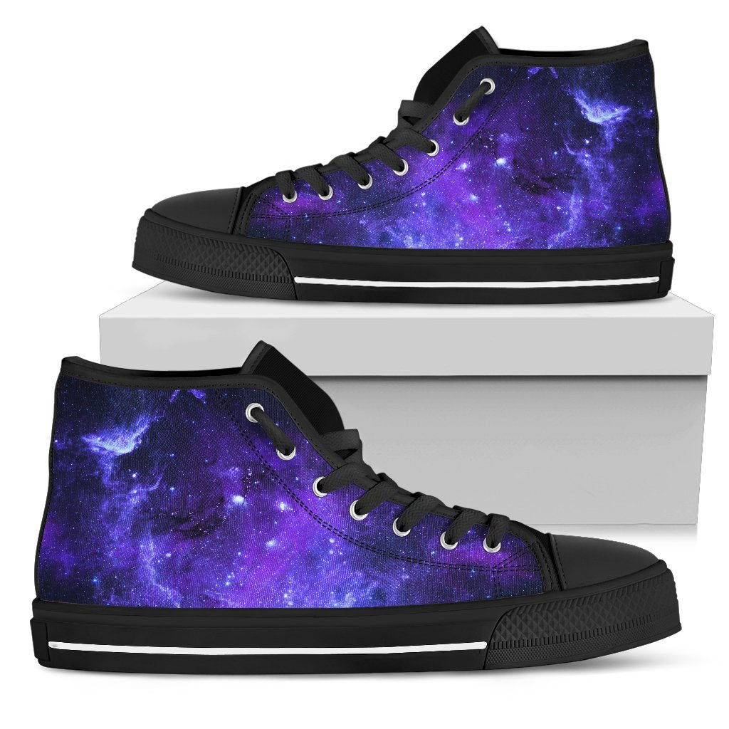 Purple Stars Nebula Galaxy Space Print Men's High Top Shoes GearFrost