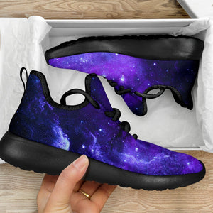 Purple Stars Nebula Galaxy Space Print Mesh Knit Shoes GearFrost